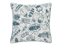 Abella Printed Insect Cushion 45 x 45cm, Soft Teal