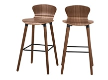 2 x Edelweiss Bar Chairs, Walnut and Black