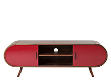Fonteyn Media Unit, Walnut and Red