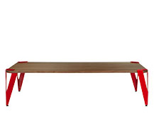 Hexag Rectangular Coffee Table, Walnut and Red