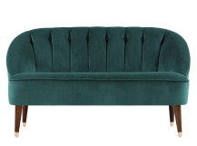Margot 2 Seater Sofa, Peacock Blue Velvet