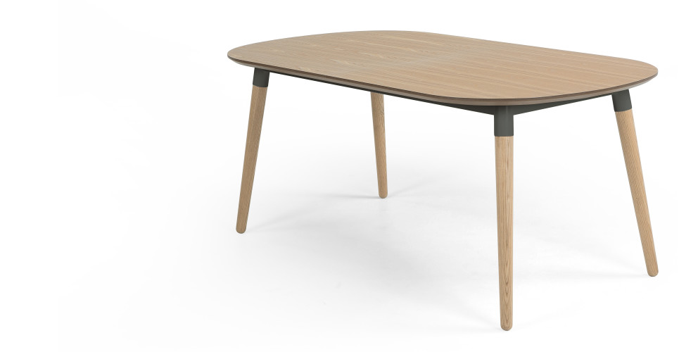 Edelweiss extending dining table ash and grey for Table ronde a rallonge