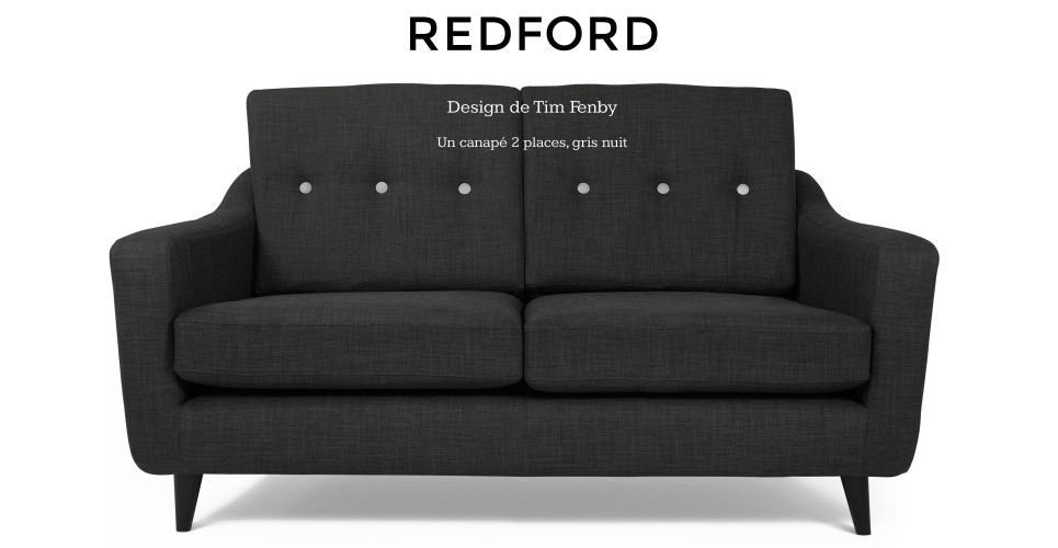 Redford, design de Tim Fenby, un canapé 2 places, gris nuit | made.com