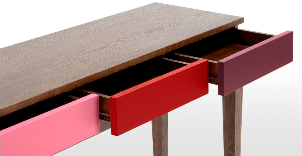 Vernay console desk in dark stain ash with multicolour red made com