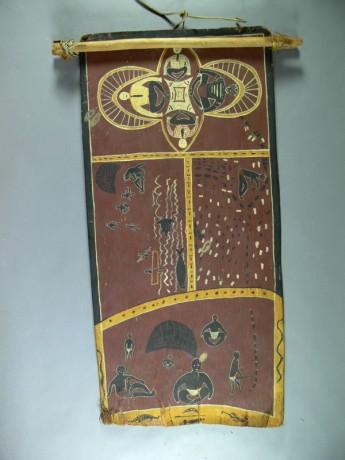 Bill Congoo's bark painting of the life of Senator Neville Bonner. Museum of Australian Democracy Collection.