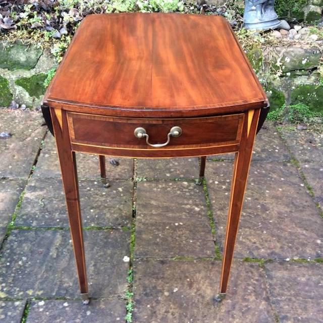 Georgian oval inlaid Pembroke table