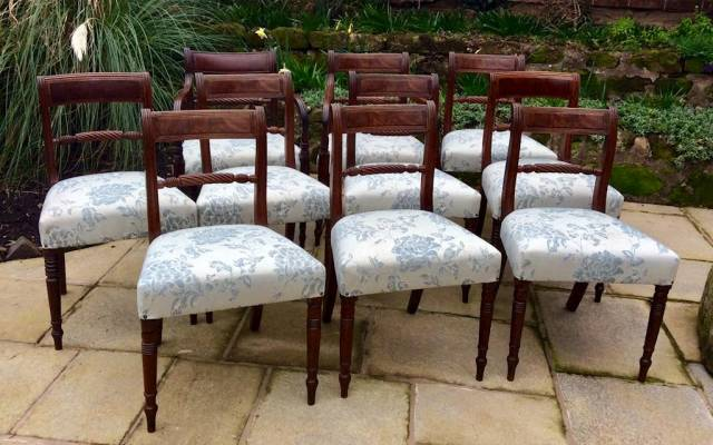 Ten Regency dining chairs