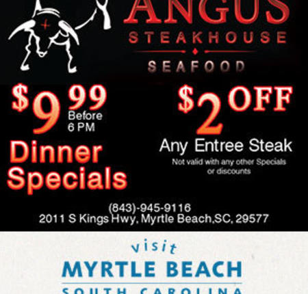 Angus Steakhouse and Seafood - $9.99 Dinner Specails - $2 Off Any Steak Entree