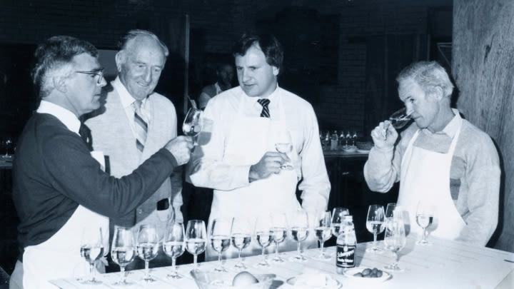 Judges at the 1986 awards, John Hanley, Ern Skinner, Robin Day and Viv Thomson.