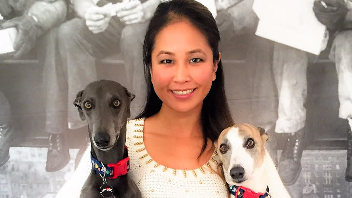 Vet and former Amazing Race contestant Sally Yamamoto-Smith and her dogs Rokit and Nitrous.