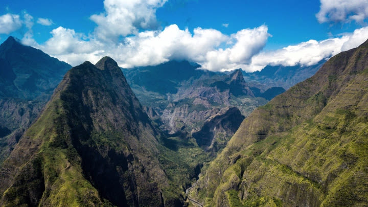 The mountains of Reunion Island (Image uploaded to Reddit by u/baty0man_).