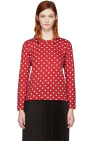 꼼데가르송 플레이 여성용 긴팔티셔츠 물방울레드, 하트로고 Comme des Garçons Play Red Long Sleeve Polka Dot Heart Patch T-Shirt