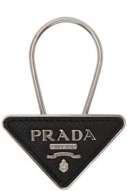 프라다 Prada Black & Silver Small Logo Keychain