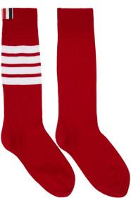 Thom Browne 톰 브라운 Red Ribbed Four Bar Socks