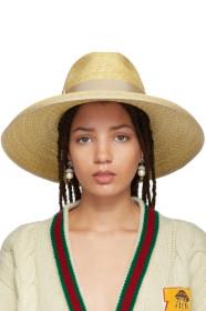 구찌 Gucci Beige Straw Wide-Brim Hat