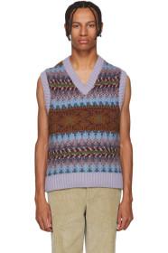 아크네 스튜디오 Acne Studios Purple & Burgundy Striped Jacquard V-Neck Vest
