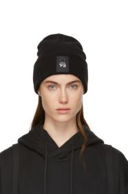 Y-3 Black Wool Logo Beanie