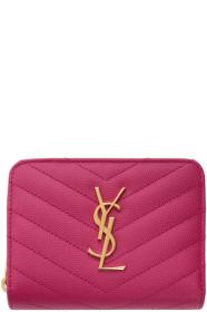 생 로랑 Saint Laurent Pink Compact Monogramme Wallet