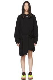 MSGM Black Mini Logo Sweatshirt Dress