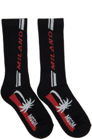 MSGM Black Milano Palm Socks