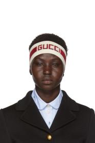 구찌 Gucci 오프화이트 Off-White & Red Stripe Logo Headband