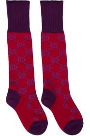 구찌 Gucci Red & Purple GG Supreme Long Socks
