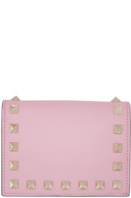 Pink 발렌티노 Valentino Garavani Small Rockstud French Flap Wallet