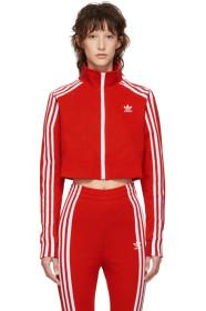 아디다스 Adidas Red Cropped Track Jacket