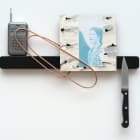 Sara Magenheimer, Marjorie, 2016, knife rack, painted steel wire, collaged pigment print on painted clay board, radio, knife 12 x 14 1/2 in. (30.48 x 36.83 cm)