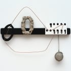 Sara Magenheimer, Across the Accordion of Sky and Telescoped Voices (After Cendrars), 2016, knife rack, steel wire, house numbers, painted pigment print, tea ball, 12 x 14 1/2 in. (30.48 x 36.83 cm)