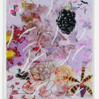 Petra Cortright, Andro-6 greeting cards, 2015, digital painting, duraflex, 3D print, UV print and stickers mounted on acrylic, 49 × 42 × 1 in.