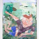 Nicholas Buffon, BRUNETTE, 2013, oil, hair, wood, plaster on canvas, 43 × 34 in.