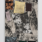 Sterling Ruby, BC (3724), 2012, collage, paint, bleach, glue, fabric on wood, 84 x 48 x 2 in. (213.4 x 121.9 x 5.1 cm.,) SR_FP2384