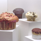 Hany Armanious, Muffin #1, 2003, expanding foam, pigment & paper, 15 x 22.5 x 22.5 in. (38 × 57 × 57 cm.)