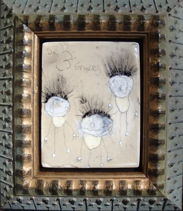 3 Graces by Richard Campiglio, mixed media 7x8 in framed 2010 (sold)