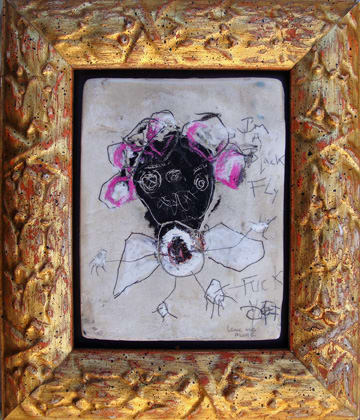 I'm a Black Fly mixed media on panel 5x6 in 2008(sold)
