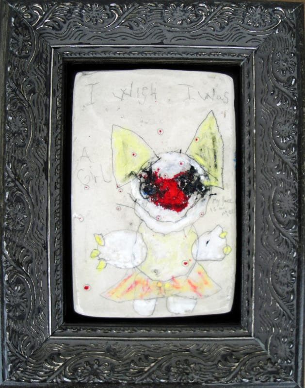 I Wish I Was a Girl, by Richard Campiglio, mixed media 5 x7 in framed 2013
