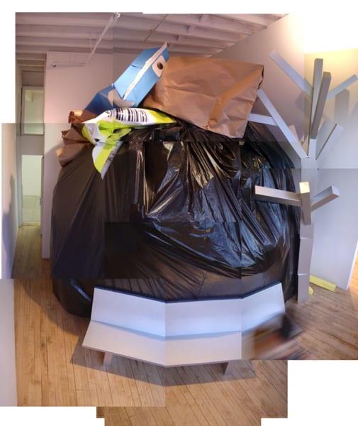 Ester Partegàs, Civilization is Overrated, 2004, plastic, metal studs, enamel, paper, acrylic, wood, plaster, 396 x 369 x 369 in. (1005.84 x 1005.84 x 1005.84 cm.)