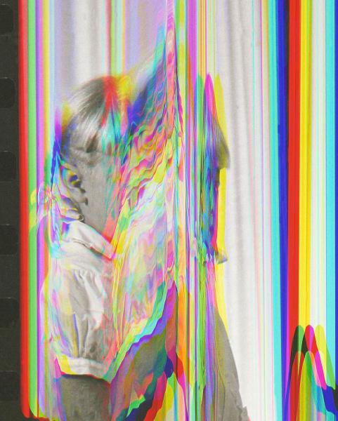 Sara Cwynar, Girl From Contact Sheet 2 (Darkroom Manuals), 2013, chromogenic print mounted on plexiglas, framed, 30 × 24 in.