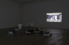 """Alessandro Pessoli, """"Caligola"""" 2002 , DVD animation, 10 min. 45 sec. Install view in Early Films at Marc Foxx, 2016. Photo: Robert Wedemeyer"""