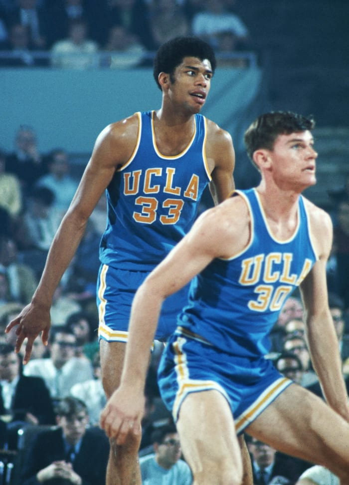 Dunking is banned in college, possible because of Alcindor