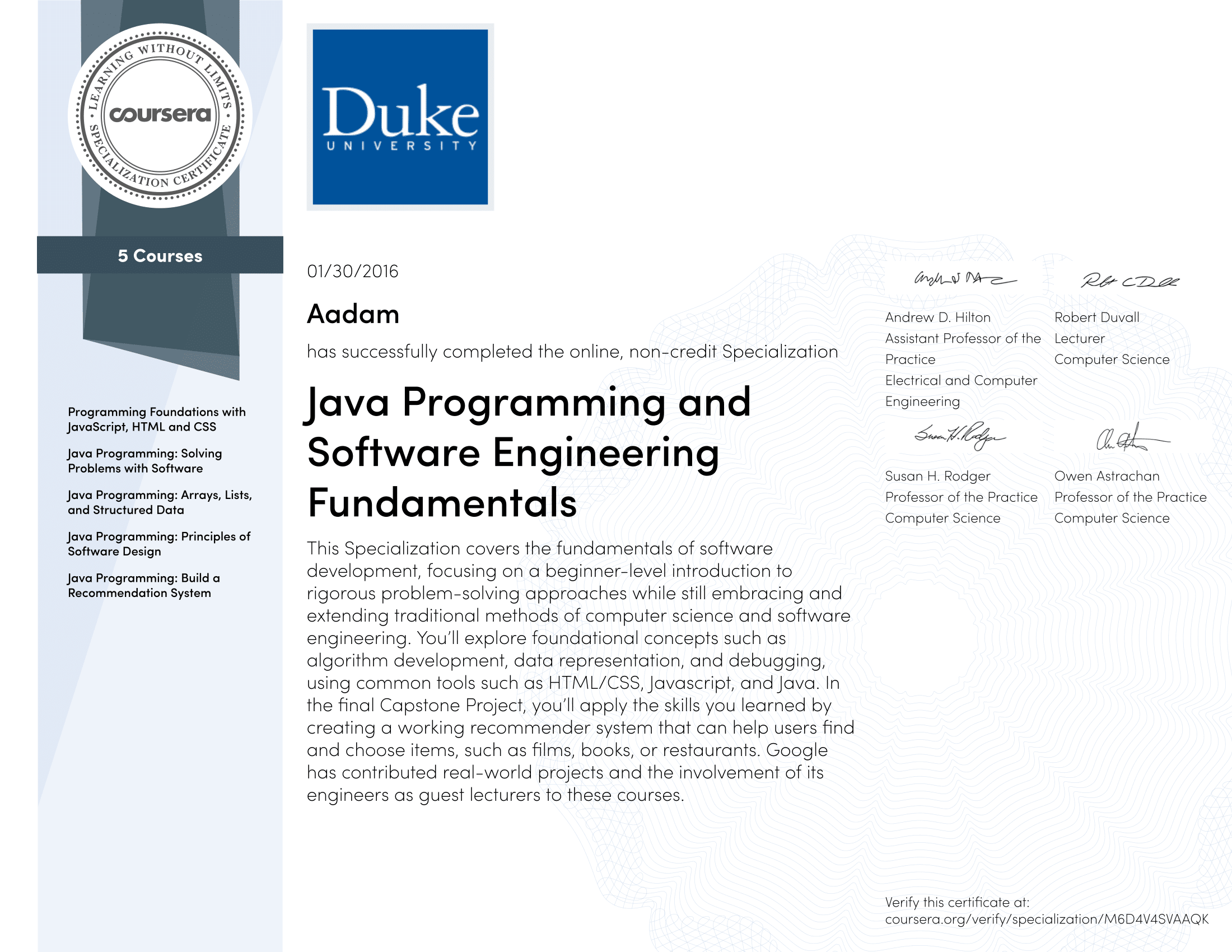 Java Programming and Software Engineering Fundamentals Specialization