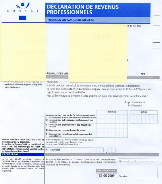 Eugenol d claration de revenus urssaf - Declaration revenus meubles non professionnels ...