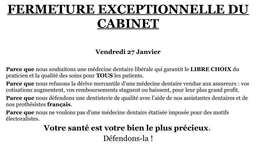 Eugenol affiche fermeture cabinets vendredi 27 - Affichage obligatoire cabinet dentaire ...