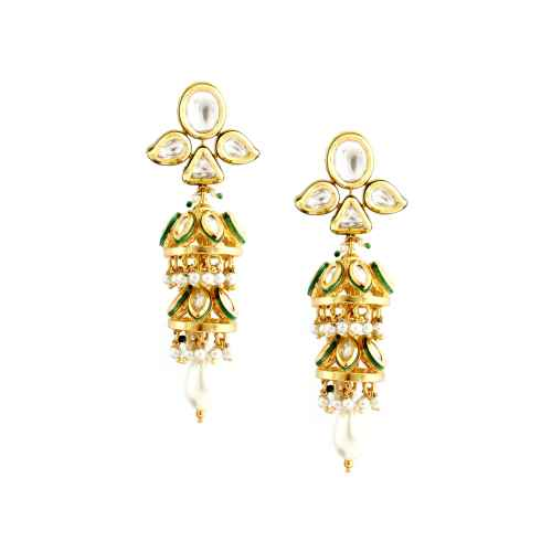 Gold Plated Faux Pearl and Kundan Earrings