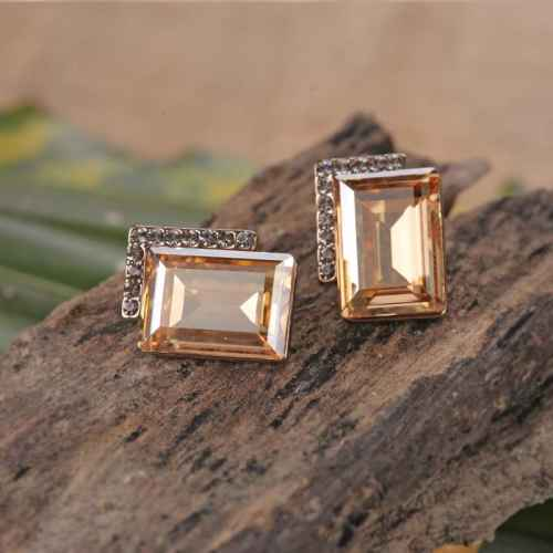 Light Brown Crystal Studded Earrings made with elements from Swarovski