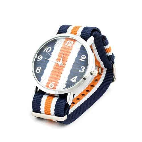 Navy Blue & Orange Strap Watch