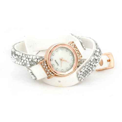 White and Silver Sequence Wrap Watch
