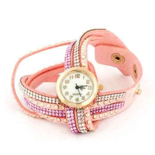 Light Pink Three Strip Wrap Watch