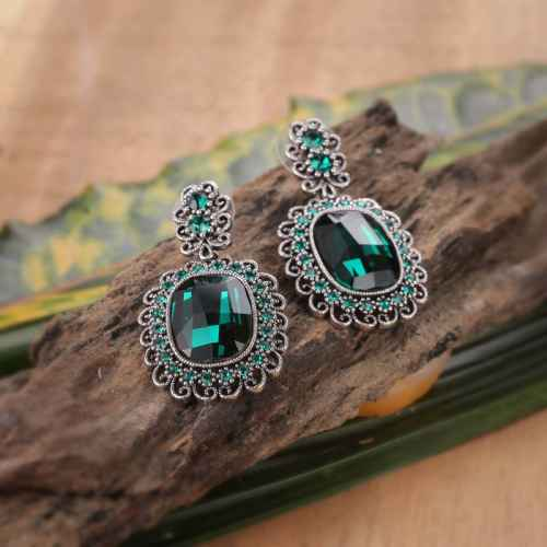 Sea Green Crystal Gold Plated Finish Earrings made with Eements from Swarovski.